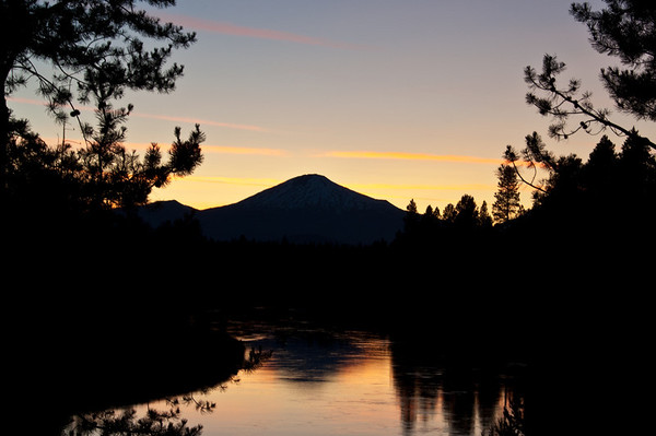 sunset over mt bachelor