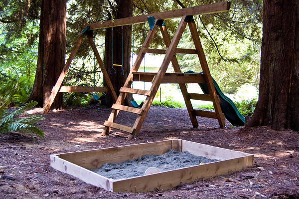 swingset and sandbox
