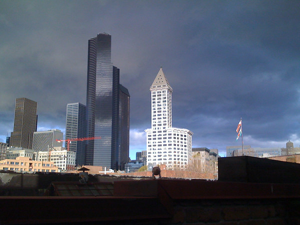 smith tower with dark sky