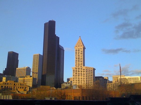 smith tower with blue sky and glow