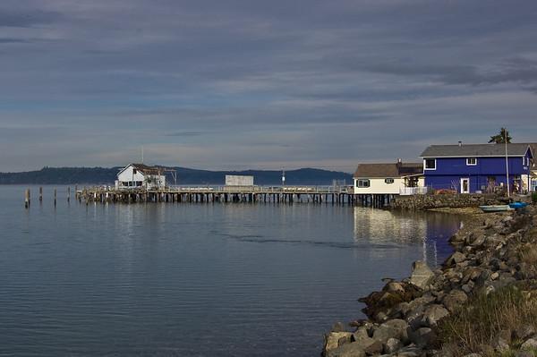 purple house and dock